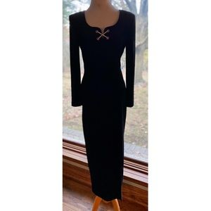 Black Velvet Fitted Maxi With Crystal Accents